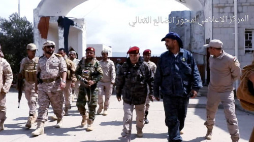 قيادة جبهات محور الضالع وقيادة المحافظة تستقبل وفداً رفيعاً من القيادة العامة لقوات الدعم والإسناد